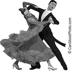 bailando, pareja, negro, blanco