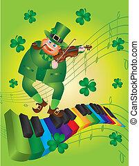 bailando, patricks de st, teclado, leprechaun, piano, día
