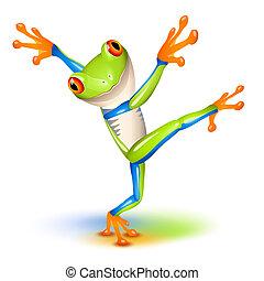 bailando, rana, árbol