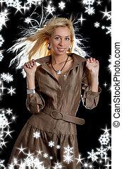 bailando, rubio, en, marrón, vestido, con, copos de nieve