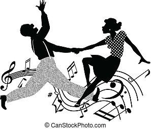bailando, silueta, retro