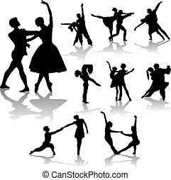 bailando, siluetas, colección