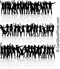 bailando, siluetas, gente, -, grande, colección