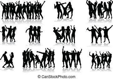 bailando, siluetas, -, grande, colección