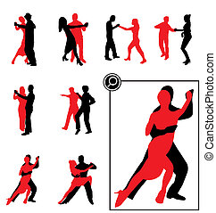 bailando, siluetas