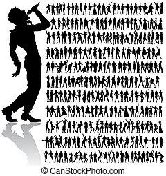 bailando, y, canto, gente, grande, conjunto