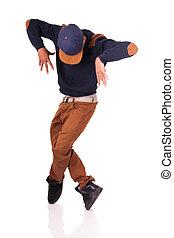 bailarín, africano, breakdance