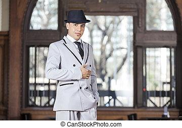 bailarín, amaestrado, macho, tango, restaurante