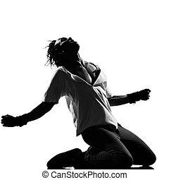 bailarín, arrodillar, estridente, bailando, salto, cadera, ...