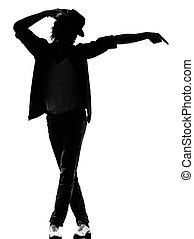 bailarín, bailando, cadera, canguelo, salto, hombre