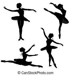 bailarín, ballet, 2, -, siluetas