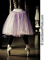 bailarín, ballet, dedos del pie, ella
