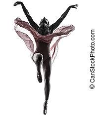 bailarín, ballet, silueta, bailando, mujer, bailarina