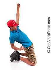 bailarín, breakdance, africano