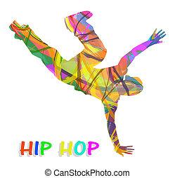 bailarín, cadera-salto