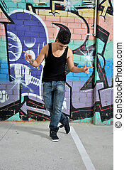 bailarín, calle de la ciudad, breakdance