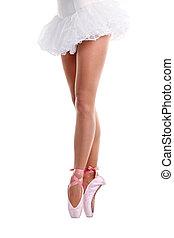 bailarín de ballet clásico, pointe, cortado, vista