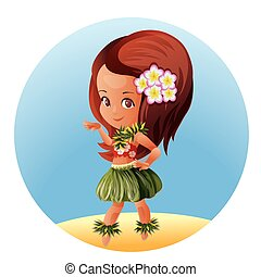 bailarín de hula, carácter, caricatura, hawaiano