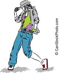 bailarín, e, cadera-salto, ilustración