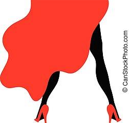 bailarín, ilustración, vestido rojo, burlesco
