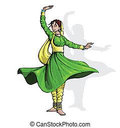 bailarín, indio, clásico