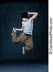 bailarín, joven, cadera-salto, saltar