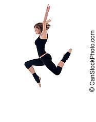 bailarín, moderno, saltar