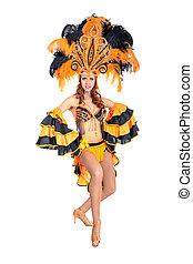 bailarín, mujer, carnaval, bailando