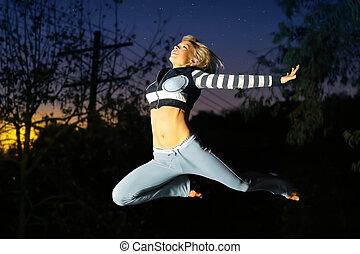 bailarín, mujer, saltar, aire