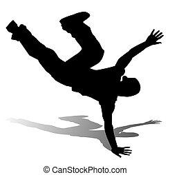 bailarín, silueta, cadera-salto