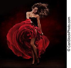 bailarín, vestido, rojo, hermoso, llevando