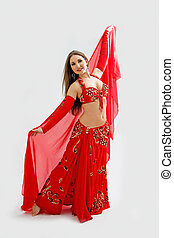 bailarín, vientre, rojo