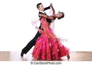 bailarínes de salón, aislado, plano de fondo, blanco, latino