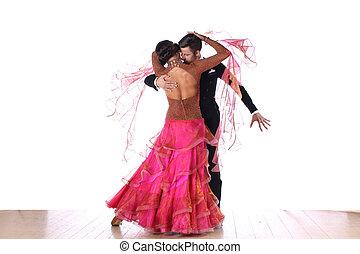 bailarínes de salón, contra, plano de fondo, blanco, latino