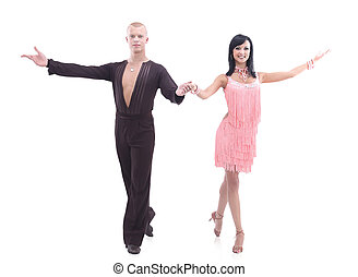 bailarínes de salón, dos, contra, joven, estudio, plano de fondo, blanco