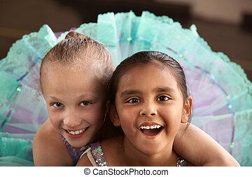 bailarina, adorable, amigos