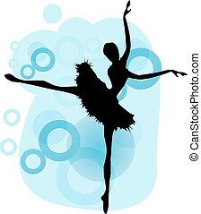 bailarina, ballet, 01, silueta, bailando, vector, mujer, dancer.beautiful