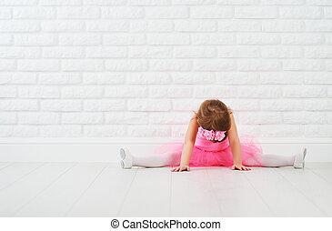 bailarina, ballet, extensión, poco, bailarín, niña