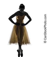 bailarina, ballet, mujer, silueta, bailando, bailarín