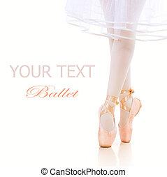 bailarina, ballet, pointe, shoes., piernas, closeup.
