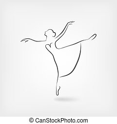 bailarina, bosquejo, estudio, símbolo, bailando