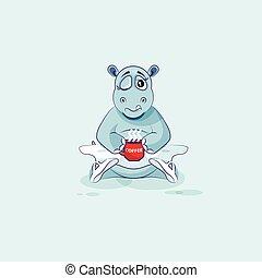 bailarina, café, apenas, copo, personagem, cima, ilustração, vetorial, emoji, caricatura, woke, hipopótamo