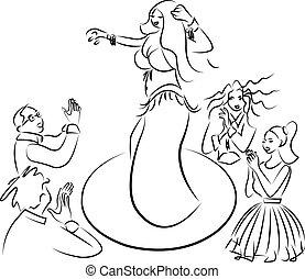 bailarina del vientre, amaestrado