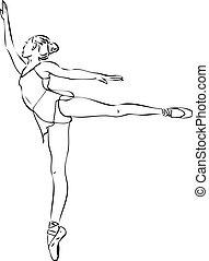 bailarina, en, arabesco, posición, en, el