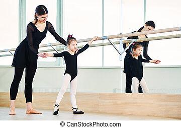 bailarina, entrenamiento, ballet, poco, bailarín, niña