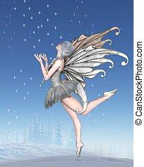 bailarina, invierno, hada, bailando, en, el, nieve