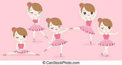 bailarina, menina, caricatura