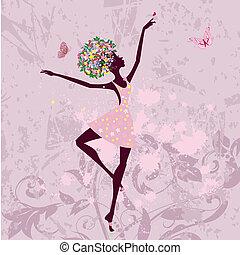 bailarina, menina, flores, grunge, fundo