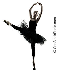 bailarina, mujer, silueta, bailando, aislado, bailarín