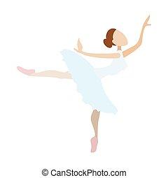 bailarina, niña, bailando, caricatura, icono